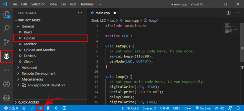Upload Code ESP32 board PlatformIO VS Code Visual Studio