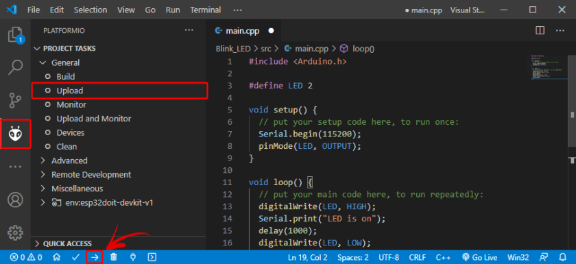 Upload Code ESP32 board PlatformIO VS Code Visual Studio