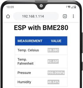 ESP32 ESP8266 MicroPython BME280 Temperature Humidity Pressure Web Server Demonstration