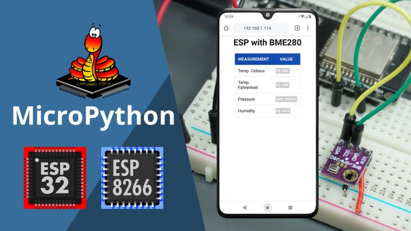 ESP32 ESP8266 MicroPython BME280 Temperature Humidity Pressure Web Server Guide