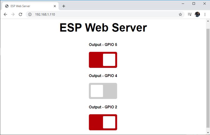 ESP8266 NodeMCU Async Web Server Web Browser Switch Buttons