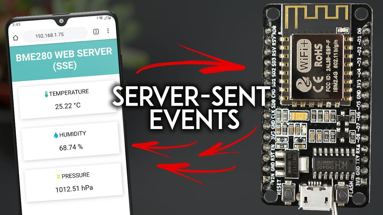 ESP8266 NodeMCU Web Server using Server-Sent Events (SSE) Update Sensor Readings Automatically Arduino