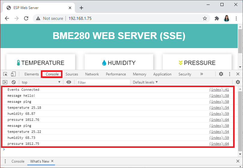 Server-Sent Events Browser Console ESP2 Web Server Demonstration