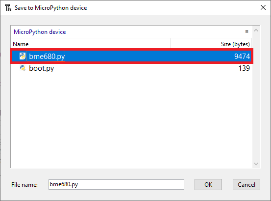 Thonny IDE ESP32 ESP8266 MicroPython Save file library to device saved