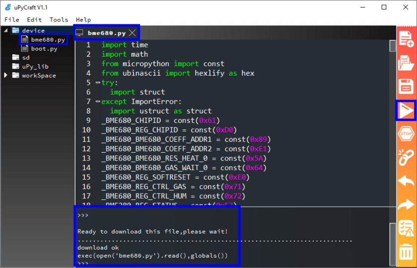 uPyCraft IDE Save library file to device ESP32 ESP8266