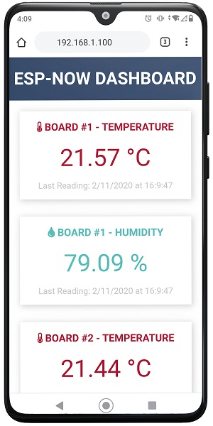 ESP8266 NodeMCU ESP-NOW Web Server Sensor Dashboard Demo