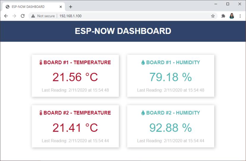 ESP8266 NodeMCU ESP-NOW Web Server Sensor Dashboard ESP-NOW and Wi-Fi Demonstration Sensor Readings