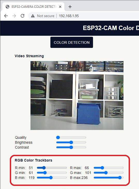 ESP32-CAM Web Server Color Tracking RGB Trackbars OpenCVJS