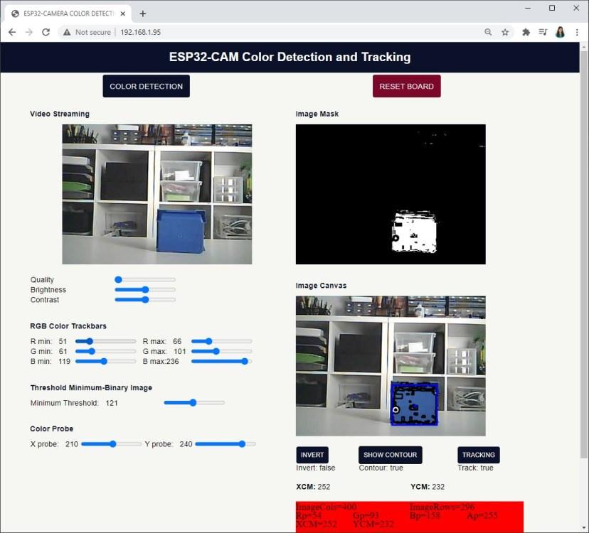 ESP32-CAM Color Tracking Web Server Preview