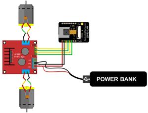 ESP32-CAM Remote Controlled Robot Diagram DC Motors