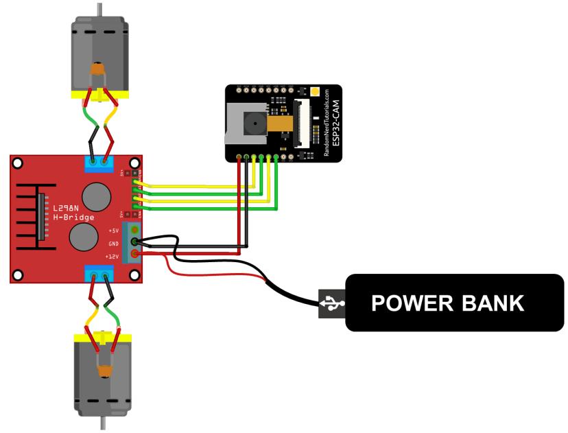 ESP32-CAM Remote Controlled Robot Diagram DC Motors Wiring Circuit