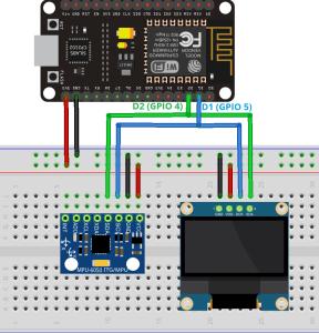 ESP8266 NodeMCU with MPU6050 and OLED Display Wiring Schematic Diagram