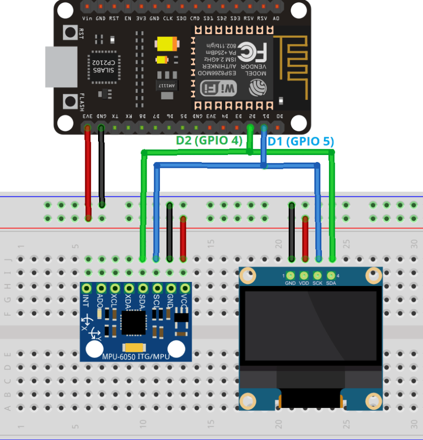 ESP8266 NodeMCU with MPU6050 and OLED Display Wiring Schematic Diagram Circuit