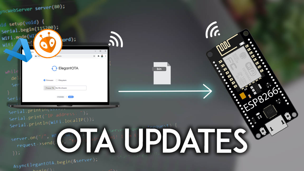 ESP8266 NodeMCU OTA Over-the-Air Updates AsyncElegantOTA VS Code PlatformIO IDE