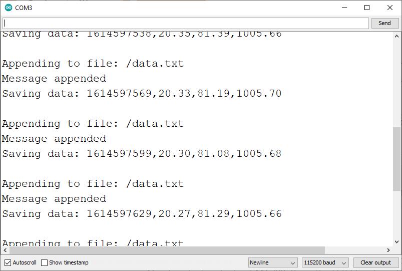 ESP32 BME280 Datalogging to microSD card Serial Monitor