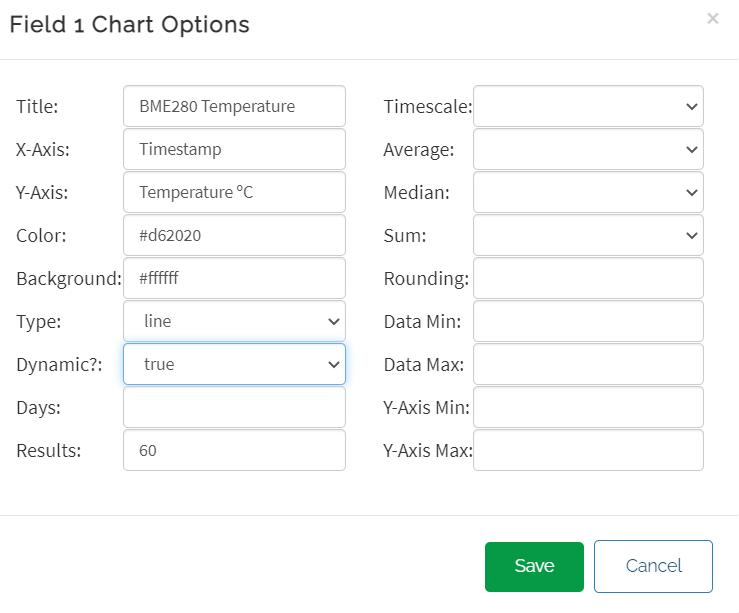 ThingSpeak field 1 chart options save settings