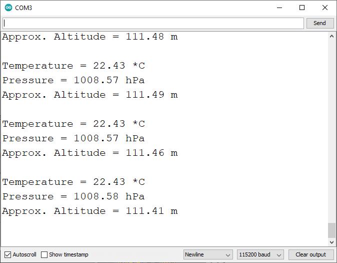 BMP388 Altitude Pressure Display Serial Monitor