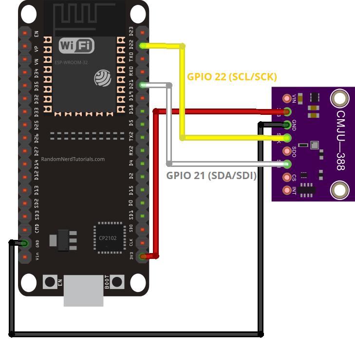 ESP32 BMP388 Wiring Circuit Diagram I2C with Arduino