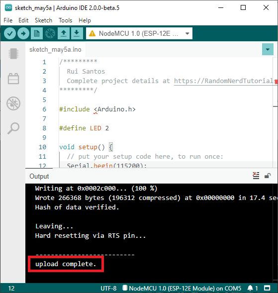 ESP8266 NodeMCU Arduino IDE 2.0 Upload Successful Programming demonstration