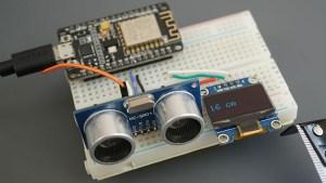 ESP8266 NodeMCU Board HC-SR04 Ultrasonic Sensor Module Arduino OLED Parts Required