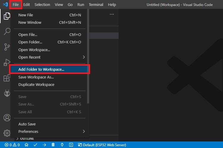 Add Folder to Workspace VS Code ESP32 ESP8266 NodeMCU