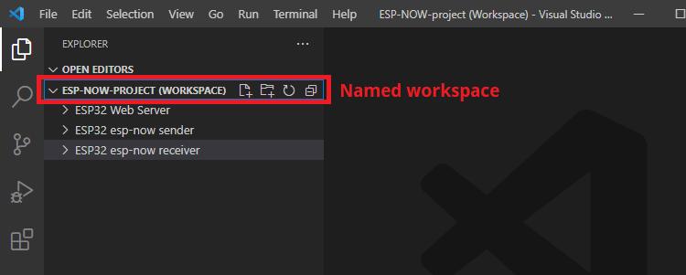VS Code Named Workspace with Multiple Folders ESP32 ESP8266