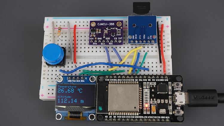 ESP32 BMP388 Sensor Altitude Pressure Temperature Arduino Oled SSD1306 MicroSD Card Demonstration