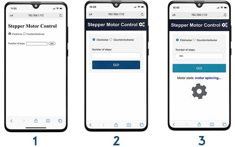 Control Stepper Motor with ESP32 Web Server HTML Form Arduino IDE