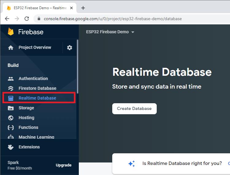 Set up realtime database firebase ESP32 ESP8266 Step1