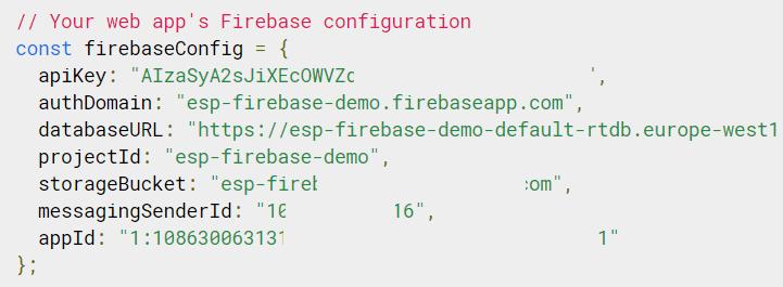 Firebase Config Object