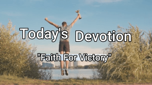 Faith for victory, a man jumping up in God's victory.