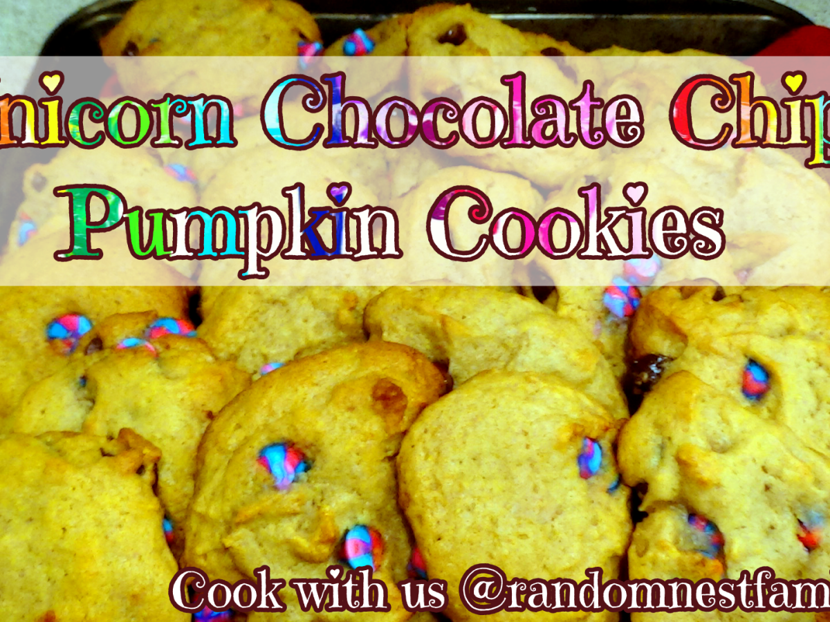 Unicorn Chocolate Chip Pumpkin Cookies @randomnestfamily