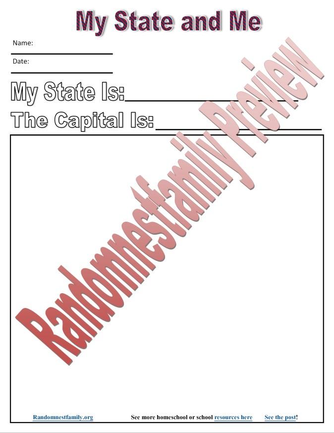 My State an me printable @randomnestfamily