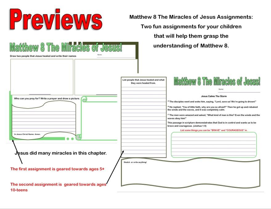 Matthew 8_Miricles of Jesus Assignment preview@Randomnestfamily