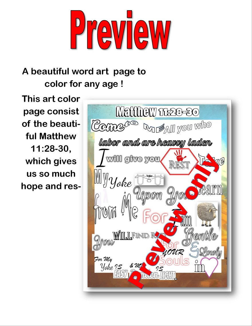 Matthew 11 Picture Art Coloring Page @randomnestfamily.org