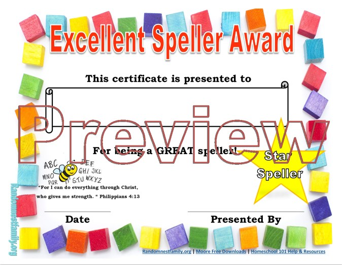 Spelling award preview @randomnestfamily.org