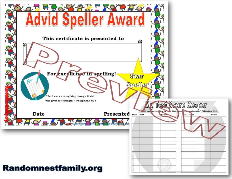 Spelling award @randomnestfamily.org
