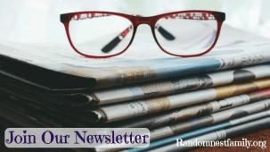 Glasses on top of newspaper_join Randomnesfamily.org newsletter