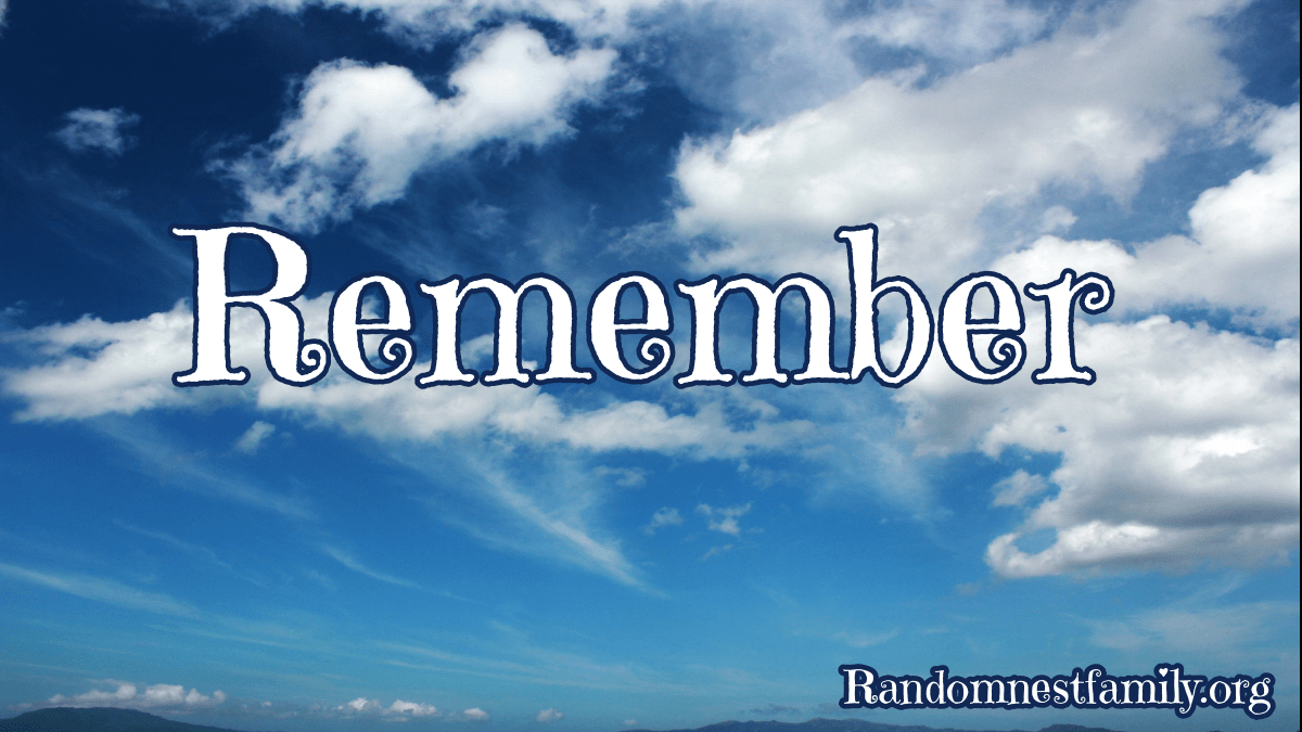 Remember photo with blue sky & clouds @randomnestfamily.org