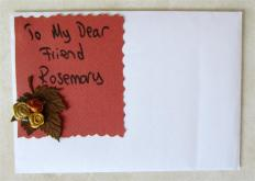 Front of envelope which held a beautiful handwritten letter which I cherish. Not often do we get handwritten letters now.