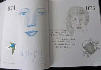 The blue birds and Mary the little demure mermaid although Bernadette knows her and she said ..... 74-75
