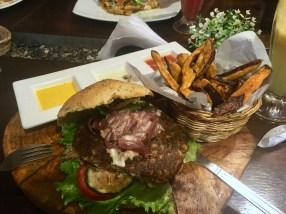 Lentil Burger with Sweet Potato Fries