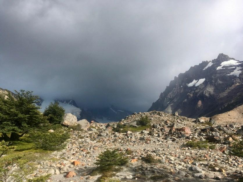 Clouds shroud the Glacier and Range