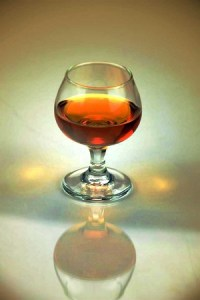 Cognac served in a brandy snifter.