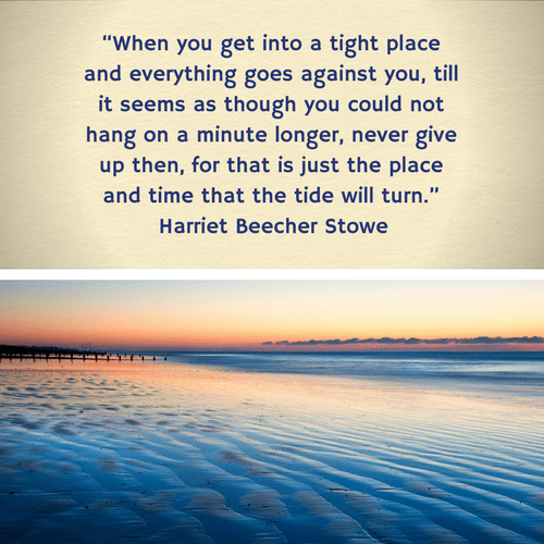 500x500 px Harriet Beecher Stowe Quote 3 on suicide and hope via randomstoryteller.com chamrickwriter with image of deep blue tide at sunset with orangish glow