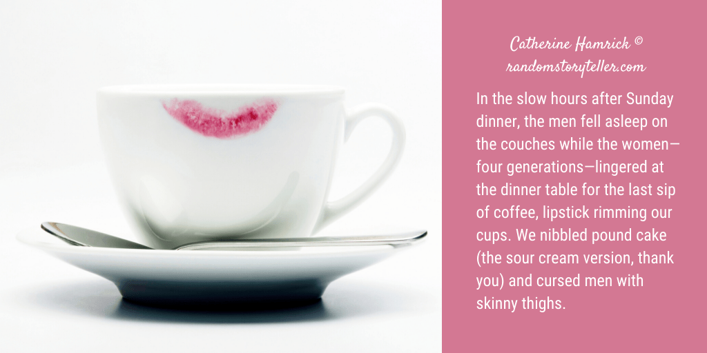 Image of coffee cup with lipstick stain on rim