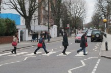 Walking on the famous pedestrian - Abbey Road.