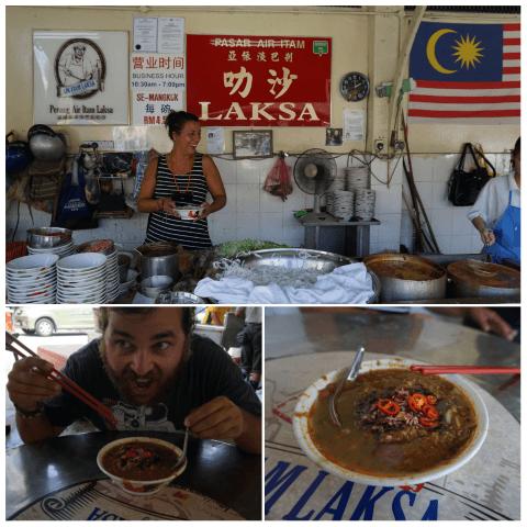 El puesto donde disfrutamos un Laksa fuera del Templo Kek Lok Si (de los mejores de la cuidad)