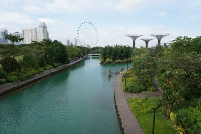 El Singapore Flyer al fondo. A la derecha los super árboles de Gardens by the Bay.