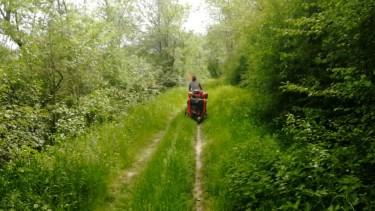 transporter son enfant à vélo - remorque enfant deux roues sur un chemin